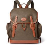 Heritage Leather-trimmed Pebble-grain Coated-canvas Backpack