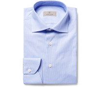 Blue Slim-fit Cutaway-collar Houndstooth Cotton-poplin Shirt