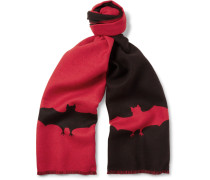 Two-tone Bat-patterned Wool-jacquard Scarf