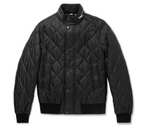 London Leather-trimmed Quilted Shell Bomber Jacket