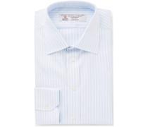 Blue Slim-fit Striped Cotton-twill Shirt