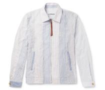 Slim-fit Striped Cotton-blend Blouson Jacket
