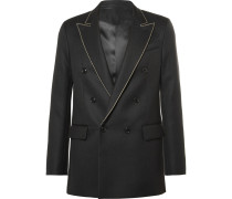 Black Joseph Double-breasted Embroidered Wool-twill Blazer