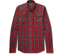 Slim-fit Studded Checked Cotton-twill Shirt