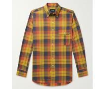 Button-Down Collar Checked Cotton, Linen and Ramie-Blend Shirt