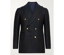 Slim-Fit Unstructured Double-Breasted Wool Blazer