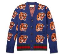 Tiger-jacquard Wool Cardigan