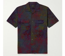 Convertible-Collar Printed Cotton-Poplin Shirt