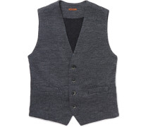 Mélange Wool And Cotton-blend Waistcoat