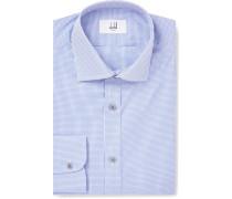Blue Slim-fit Cutaway-collar Gingham Cotton Shirt