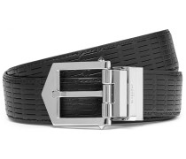 3cm Reversible Embossed Leather Belt