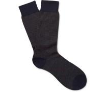 Bedford Puppytooth Escorial Wool-blend Socks