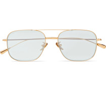 Square-frame Aviator-style Gold-tone Sunglasses