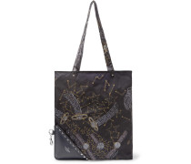 Packaway Printed Shell And Leather Tote Bag