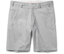 Slim-fit Striped Stretch Cotton And Linen-blend Bermuda Shorts