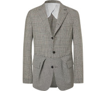 Black Slim-fit Prince Of Wales Checked And Puppytooth Wool Blazer