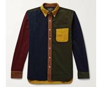 Button-Down Collar Colour-Block Cotton-Corduroy Shirt