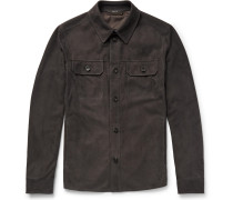 Slim-fit Perforated Suede Overshirt