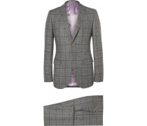 Grey Slim-fit Prince Of Wales Checked Wool Suit