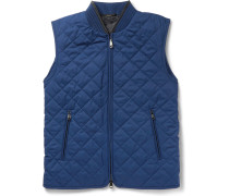 Leather-trimmed Quilted Silk Gilet