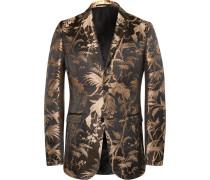 Black And Gold Slim-fit Jacquard Tuxedo Jacket