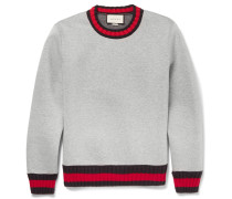 Stripe-trimmed Cotton Sweatshirt