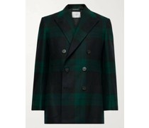 + Martin Greenfield Double-Breasted Checked Wool Suit Jacket