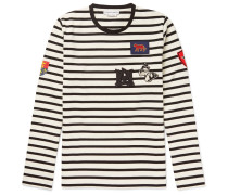 Slim-fit Appliquéd Striped Cotton-jersey T-shirt