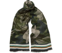 Fringed Printed Cashmere, Silk And Wool-blend Scarf