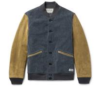 Indigo-dyed Cotton-blend Corduroy And Suede Varsity Jacket