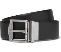 3.5cm Black Cross-grain Leather Belt