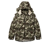 Faux Shearling-Trimmed Quilted Camouflage-Print Shell Hooded Down Jacket