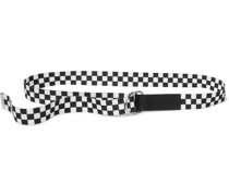 Leather-Trimmed Checked Canvas Belt