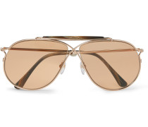 Private Collection Aviator-style Horn-trimmed Rose Gold-tone Photochromic Sunglasses