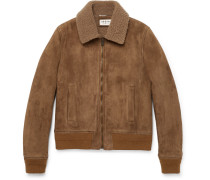 Slim-fit Shearling-lined Suede Jacket