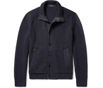 Leather-trimmed High Performance Wool Zip-up Cardigan
