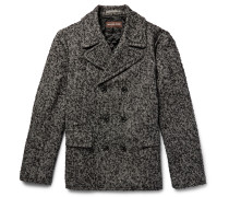 Double-breasted Herringbone Slub Wool-blend Peacoat