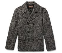 Herringbone Slub Wool-blend Peacoat
