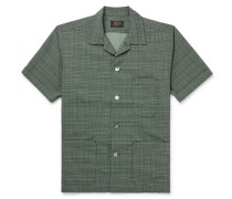 Camp-Collar Checked Woven Shirt