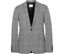 Grey Slim-fit Prince Of Wales Checked Wool And Cotton-blend Suit Jacket