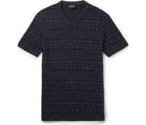 Slim-fit V-neck Jacquard T-shirt