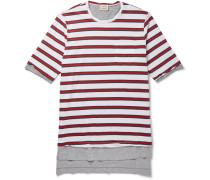 Layered Striped Cotton-jersey T-shirt