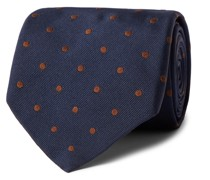 9cm Polka-Dot Embroidered Silk-Twill Tie