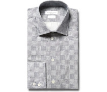 Slim-fit Cutaway-collar Patterned Cotton Shirt