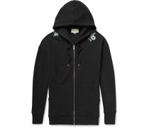 Embroidered Loopback Cotton-jersey Zip-up Hoodie