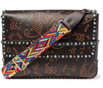 Studded Embossed Leather Messenger Bag
