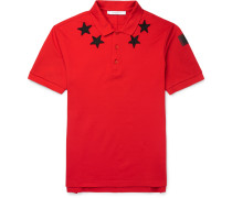 Cuban-fit Star-appliquéd Cotton-pique Polo Shirt