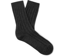 Ribbed Mélange Cashmere Socks