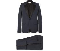 Navy Slim-fit Satin-trimmed Virgin Wool Tuxedo