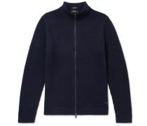 Slim-fit Cotton And Virgin Wool-blend Zip-up Cardigan